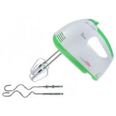 Миксер LUAZON LMR-02, электрический, 180 Вт, 7 скор., венчик и крюки для теста, бело-зелёный 1167014 1167014