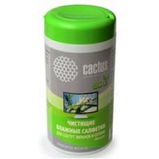 Чистящие салфетки в пластиковой тубе Cactus 100шт для  экранов и оптики  CS-T1001Е