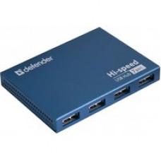 Разветлитель USB 2.0 DEFENDER Septima Slim , 7портов, адаптер питания, мини-хаб, темно-голубой, возможность зарядки при выключенном компьютере при подключенном блоке питания, 5.5 x 1.0 x 8.8 размер без упаковки 83505