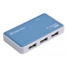 Разветлитель USB  DEFENDER Quadro Power USB 2.0, 4порта,,блок питания2А , мини-хаб,голубой,  пластик, 7.8 x 1.0 x 4.3 размер без упаковки 83503