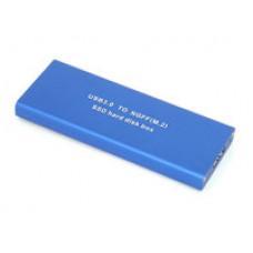 Бокс для SSD диска MSATA с выходом микроUSB 3.0 алюминиевый, серебристый