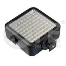 Накамерный светодиодный осветитель Falcon Eyes LedPRO 64 64 светодиода, цветовая температура 5500К, плавная регулировка яркости, питание от 4 батарей АА или от сетевого адаптера батареи и адаптер приобретаются отдельно.