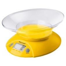 Весы кухонные MAXWELL MW-1467 YELLOW 5кг, погрешность 1г, прозрачная чаша 0,8л, ЖК дисплей 14мм,тарокомпенсация, последов взвешивание, взвешивание жидкостей в мл
