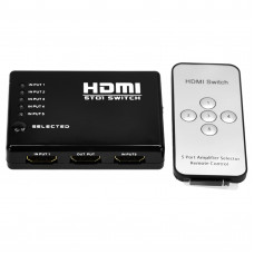 Разветвитель NO NAME SPLITTER 5 HDMI IN 1 HDMI OUT Коммутатор 5 HDMI in - 1 HDMI out с пультом