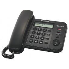 """Проводной телефон PANASONIC KX-TS2356RUB черный - АОН, Caller ID, 16-значный ЖК-дисплей с часами, русифицированная телефонная книга на 50 номеров, журнал входящих вызовов на 50 записей,  блокировка набора, выключение микрофона, кнопка """"пауза"""""""